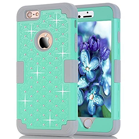 6S Plus Case, iPhone 6 Plus Case, iPhone 6S Plus Case, Speedup Diamond Studded Crystal Rhinestone 3 in 1 Bling Hybrid Shockproof Cover Silicone and Hard PC Case For iPhone 6/6S Plus (Mint - Juicy Full Diamond