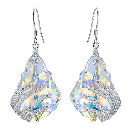 - EVER FAITH 925 Sterling Silver CZ Party Leaf Baroque Hook Dangle Earrings Iridescent Aurora Borealis Adorned with Swarovski crystals