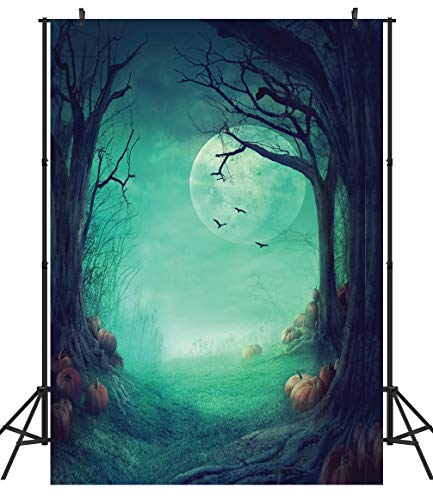 Duluda Halloween Night Pumpkin Moon 5X7FT Vinyl Photography Backdrop Customized Photo Background Studio Prop HW02A]()