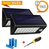 400 Lumens Outdoor Solar Lights Motion Sensor Security, 32LED Rechargeable Step Stairway Path Landscape Garden Floor Wall Patio Lighting Lamp - 2x18650 Batteries + A Screwdriver Included