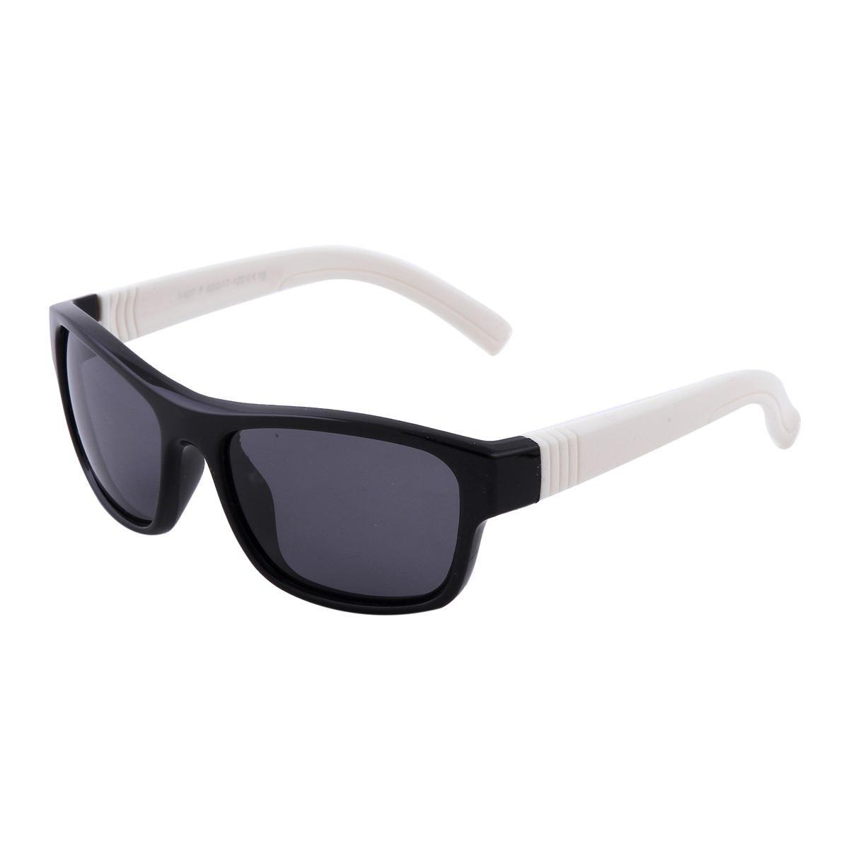 Damara Kid's Plastic Polarized Wayfarer Square Sunglasses,Black-White Frames/Black Lens