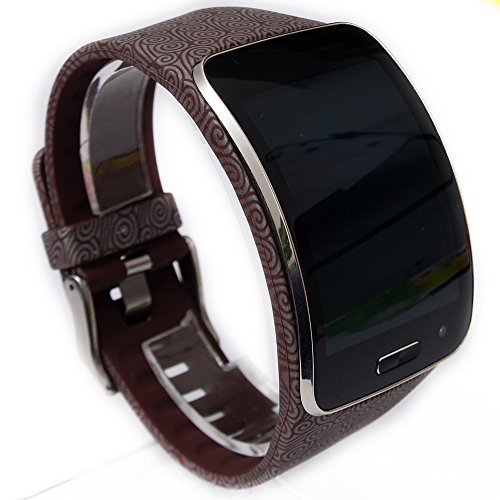 Moretek Smart Watch Band for Samsung Galaxy Gear S Watch Replacement Band Wristband Strap (Brown Waves Roll)
