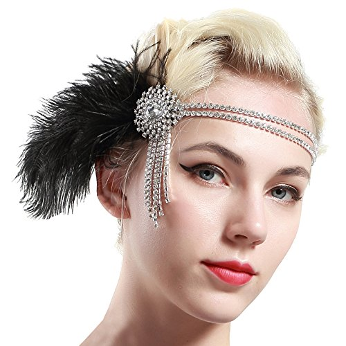 BABEYOND Vintage 1920s Flapper Headband 20s Great Gatsby Headpiece Black Feather Headband 1920s Flapper Gatsby Hair Accessories for Party Prom]()