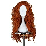 NiceLisa Long Deep Curly Orange Girl's Princess Dress Cosplay Costume Wig for Halloween Birthday Party
