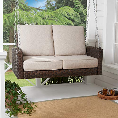 Comfy Beautiful Inviting and Relaxing Easy Care Durable Corrodion Free Hensley Outdoor Wicker Porch Swing with Non-Fading Beige Cushions – Enjoy Relaxing Or Bonding with Friends and Nature in Style!