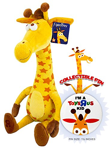 "Toys R Us Birthday Geoffrey Giraffe Plush 16"" Doll with Exclusive TRU Kid Collectible Souvenir Pin"