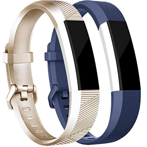 - Tobfit Compatible with for Fitbit Alta Bands for Women Men, Soft Waterproof Sport Bands Replacement Strap Compatible with for Fitbit Alta HR/Ace, Large, Champagne Gold/Blue