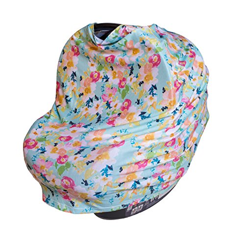 (ROSIE POPE 5-in-1 Multi-Use Car Seat Cover, Mint Floral)
