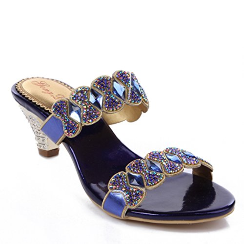 CRC Womens Fashion Knot Sparkle Rhinestone Leather Prom Wedding Party Sandals Slippers Chunky-blue 6DfnClXgLQ
