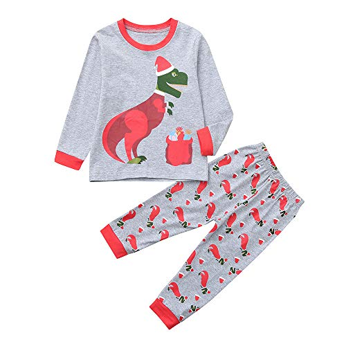 1-7 Years Toddler Kids Baby Outfits Set,Boys Girls Cartoon Christmas Pajamas Tops Pants (2-3 Years, Gray) ()
