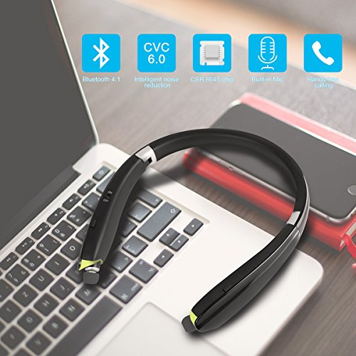 Foldable Bluetooth Headset,Besyoyo Wireless Bluetooth 4.1 Headphones with Retractable Earbuds,Handsfree Calling Bluetooth Sweat proof Sport Headphones Built in Mic for Bluetooth Enabled Devices - Image 4