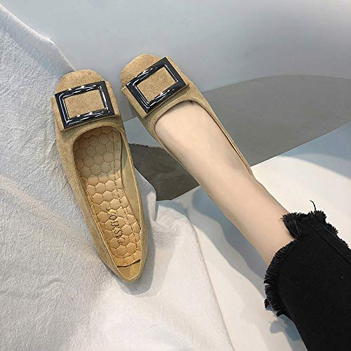Slip Metal Solid Shoes Ladies 3 IZHH Single Autumn Khaki Casual on Square Shoes Size Work Shoes 5 7 Low Flat Loafer Color Heel Slider Xq0Cw