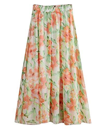 Jupe Longue En Mousseline De Soie Femme Fluide vase Bohme Imprim Floral Robe Xhg