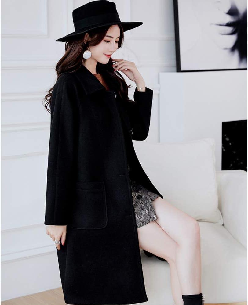 AZW@ Manteau en Laine pour Femme, Manteau en Laine pour Femme Automne Et Hiver, Manteau en Laine pour Femme Grande Taille, Coupe-Vent, Veste, Noir