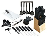 41 Pc Chef's Kitchen Knife Set - Stainless Steel Cutlery Sets - Cooking Knives Set w/ Wooden Block & Cooking Utensils