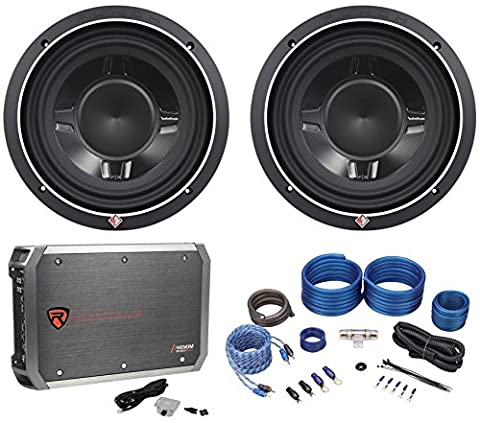 Package: (2) Rockford Fosgate P3SD4-10 Dual 4-Ohm Shallow Mount Car Subwoofers Totaling 1200W Peak/600W RMS + Rockville RXD-M2 750 Watt RMS - CEA Compliant Mono Class D 1 Ohm Car Stereo Amplifier + Rockville RWK4CU 4 AWG Complete Car Amp (Complete 15 Subwoofer Package)
