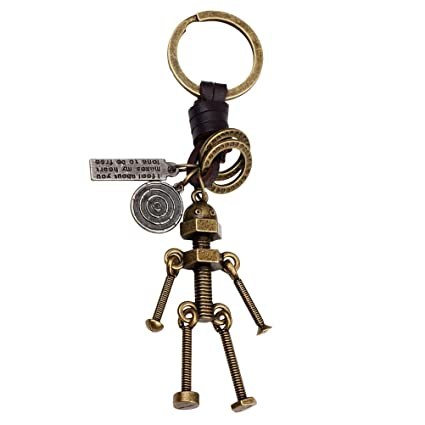 LIOOBO Antiguo Llavero de Bronce Lindo Robot Llavero Llavero ...