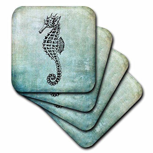 3dRose Andrea Haase Animals Illustration - Vintage Sea Horse Drawing On Blue Background - set of 8 Coasters - Soft (cst_276227_2) by 3dRose