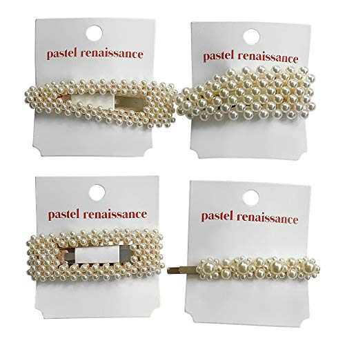 PASTEL RENAISSANCE 4PC Premium Oversized Pearl Hair Clips Gold Barrette Accessories Set (Pearl) Wedding Bridal Hair Pins