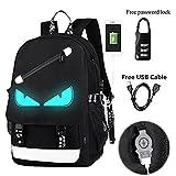 Kalakk Anime Luminous Backpack Noctilucent School Bags Daypack USB Chargeing Port Laptop Bag Handbag