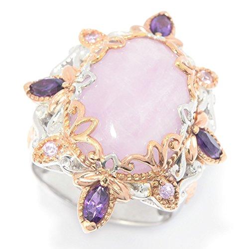 Michael Valitutti Palladium Silver Oval Kunzite, Amethyst & Pink Sapphire (Kunzite Ring)