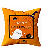 Musesh Home Pillow Cover,Cute Pillow Covers Happy Halloween Ghost Silhouette Black Spider Pumpkin Cute Cartoon Baby Orange 18X18Inch Square Pillow Cases for Sofa Bedroom Living Room