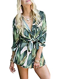 NANYUAYA Women Leaf Print V Neck Front Tie Crop Tops with Short 2 Piece Set Outfit
