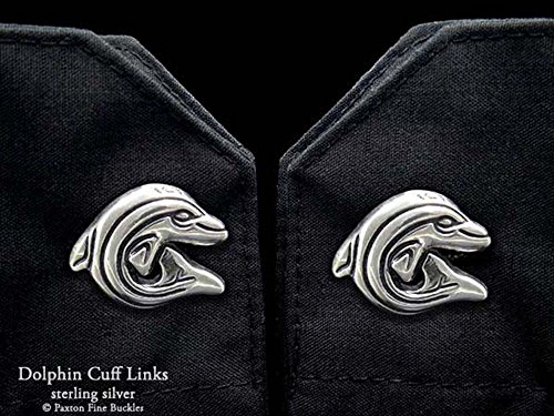 Dolphin Cuff Links in Solid Sterling Silver Hand Carved & Cast by Paxton by Paxton Jewelry