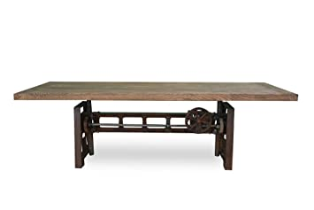 Industrial Wood + Metal Yorkshire Industrial Cast Iron Crank Dining Table,  84 Inch Reclaimed