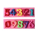 Astra shop 3D Birthday Cake Numbers From 0 To 9 Silicone Mold Number Mould Fondant Molds With Inserted Hole Fondant Cake Decoration Cake Topper Decorating