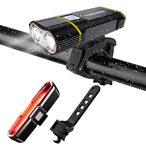 TANSOREN USB Rechargeable Bicycle Light Front and Back Set, 2000 Lumens LED Lamp Bike Headlight and COB Tail Light -【Upgrade Front Bike Light Base】 Waterproof 5 Light Modes for Road Cycling