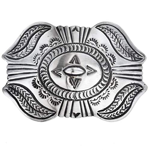 (Old Pawn Style Silver Belt Buckle Navajo Made Santa Fe Finish)