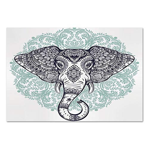Large Paisley Wallpaper - Large Wall Mural Sticker [ Elephant Mandala,Ethnic Indian Floral Paisley Print Sacred Animal Head Hippie,Purple White and Blue ] Self-adhesive Vinyl Wallpaper / Removable Modern Decorating Wall Art