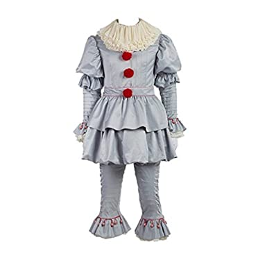 cosfunmax pennywise costume halloween deluxe clown cosplay costume outfit it movie for adults kids female