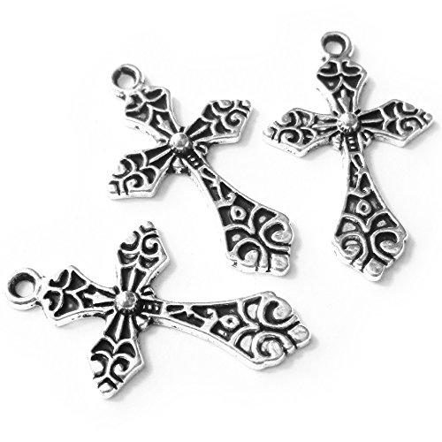 Heathers Pattern Cross Beads Pendants 32X19mm product image