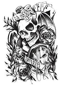 Yeeech Temporary Tattoos Sticker for Women Men Couple Skull Poker Clock Rose Sexy Products Body Art Makeup Waterproof