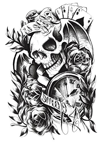 (Yeeech Temporary Tattoos Sticker for Women Men Couple Skull Poker Clock Rose Sexy Products Body Art Makeup)
