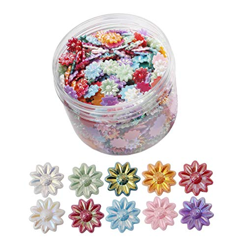 800pcs Mixed Colorful Acrylic Rhinestone Rose Flowers 3D Nail Art Tips Slice Flat Back Resin Cabochons Nail Art Decoration for Women Girls Ladies (htyh) - Art Cabochon