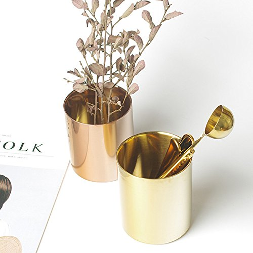 Brass Gold Vase Decoration Home Stainless Steel Vases for Flowers Storage Container Organizer Pen Holder Cup Desk Flower Pots Xiaolanwelc