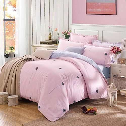 Diamond Patterned Tie (Uozzi Bedding 3 Piece Duvet Cover Set Queen/Full, Reversible Printing with Brushed Microfiber, Lightweight Soft, Comfortable , Durable (Pink,)