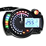 BlueFire Speedometer Blue LCD Digital Backlight Speedometer Tachometer Odometer Motorcyle MotorBike Motor ATV Scooter Dirt bike 9-16V