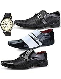 Kit 3 Pares Sapato Social Masculino Neway Preto e Branco + Relógio