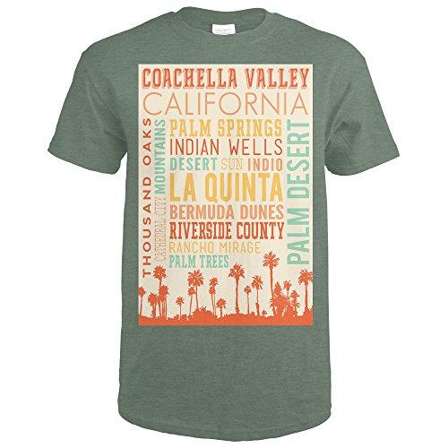 Coachella, California - Typography (Heather Military Green T-Shirt - Men's Style Coachella