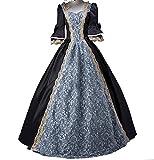 ROLECOS Womens Royal Vintage Medieval Dresses Lady Satin Gothic Masquerade Dress Black Custom Size