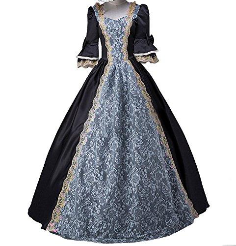 ROLECOS Womens Royal Vintage Medieval Dresses Lady Satin Gothic Masquerade Dress Black (Womens Fancy Dress Wigs)