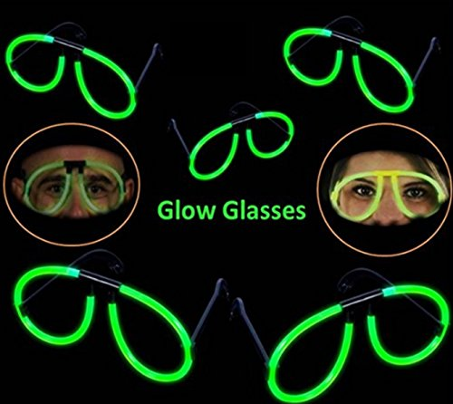 Play Kreative Glow Stick Eye Glasses - 12 Glowsticks to Make Glasses - Glow in The Dark Party Eyeglasses - Fun for Adults and Kids -