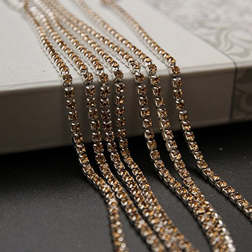 USIX 10 Yards Crystal Rhinestone Close Chain Trimming Claw Chain Multi Size Color Rhinestone Chain for DIY Arts Craft Sewing Jewelry Making, Topaz-Silver Chain, SS12/3.0MM