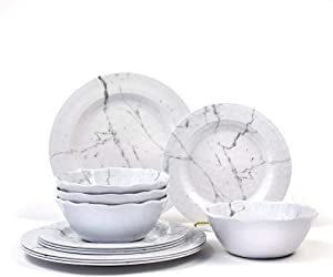 Nicole Home Collection 12-Piece Melamine Dinnerware Set | Marble Design