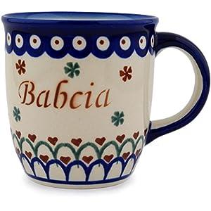 Polmedia Polish Pottery Babcia – Grandma Mug from Polish Pottery – Blue Eye with Flowers