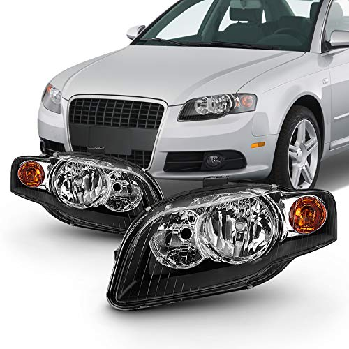 (Fits 2005-2009 Audi A4 S4 2007-2008 RS4 2009 Cabriole Halogen Style Headlamps Left+Right Pair Black Headlights)